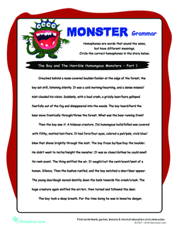 Homophone Story Worksheet