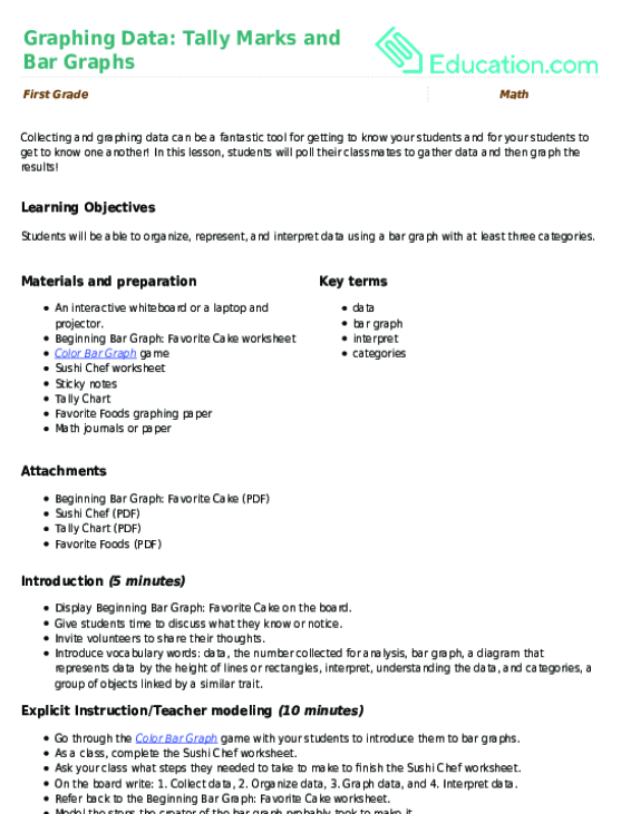 how to teach tally marks to 1st graders