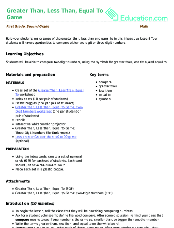 Greater Than, Less Than, Equal To Game Lesson Plan | Lesson Plan ...