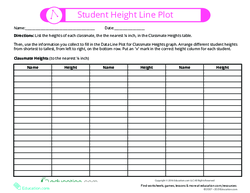 Student Height Line Plot