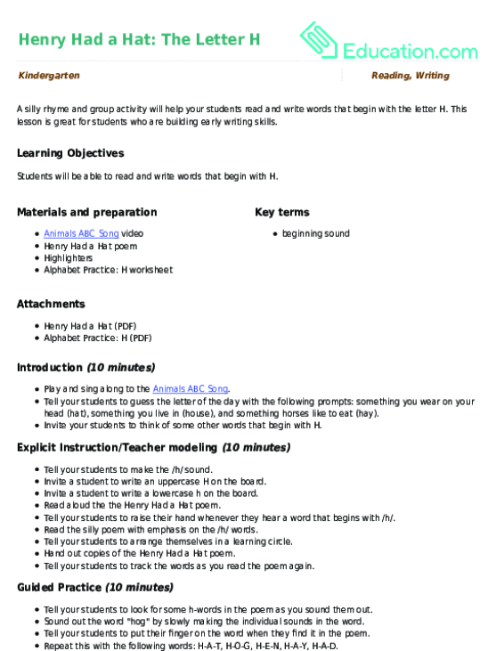 6d4e7c5c3209 Related learning resources. Henry Had a Hat  The Letter H