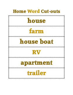 Home Word Cut-outs