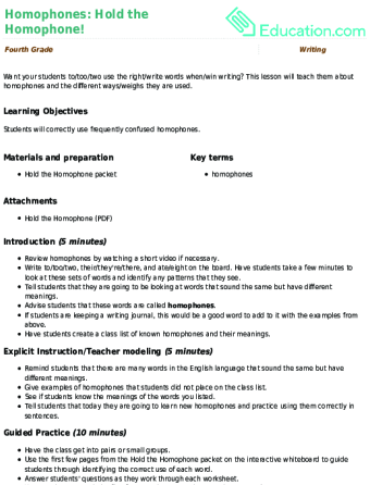 Homophones Hold The Homophone Lesson Plan Education