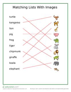 Animal Matching List Answers