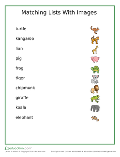 Animal Matching List