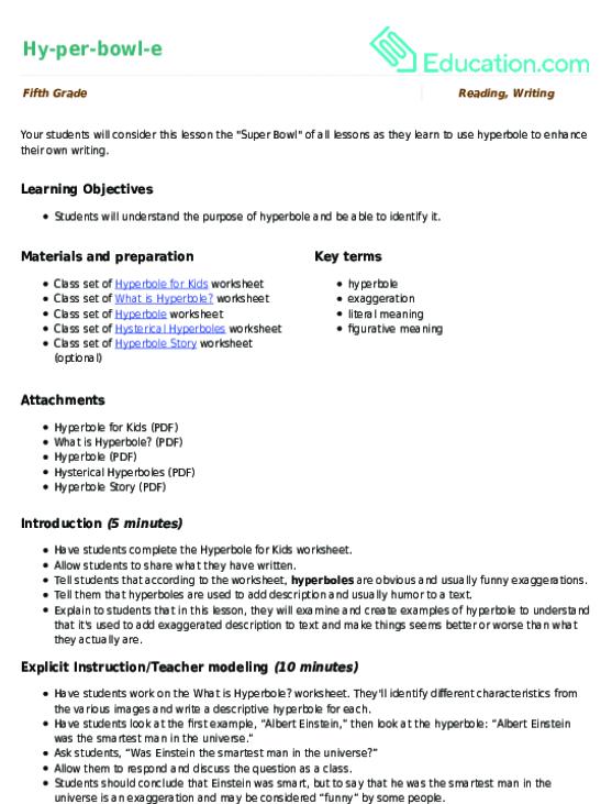 Hyperbowle Lesson Plan – Hyperbole Worksheets
