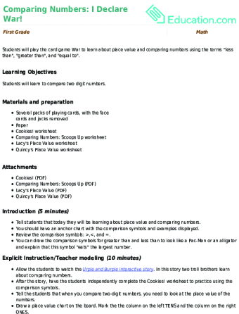 Comparing Numbers: I Declare War! Lesson Plan | Lesson Plan ...