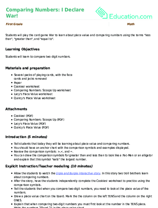 Greater Than Less Than Equal To Game Lesson Plan – Comparing Numbers Worksheets 4th Grade