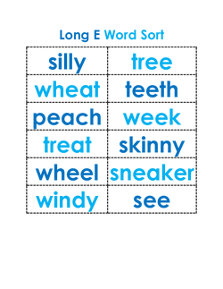 Long E Word Sort