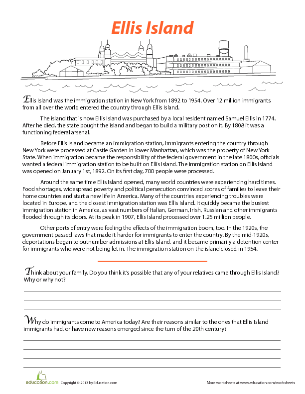 Ellis Island Worksheet Pdf