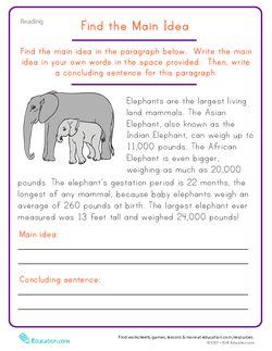 Printable Worksheets find the main idea worksheets : In Search of the Main Idea | Lesson Plan | Education.com