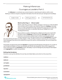 Making Inferences: Courageous Leaders Part 1