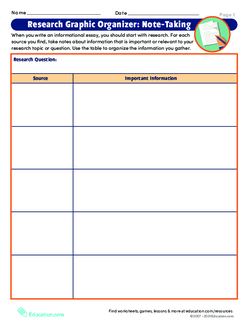Research Graphic Organizer: Note-Taking