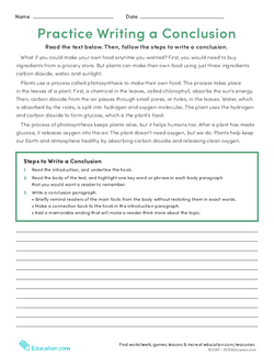 Practice Writing a Conclusion