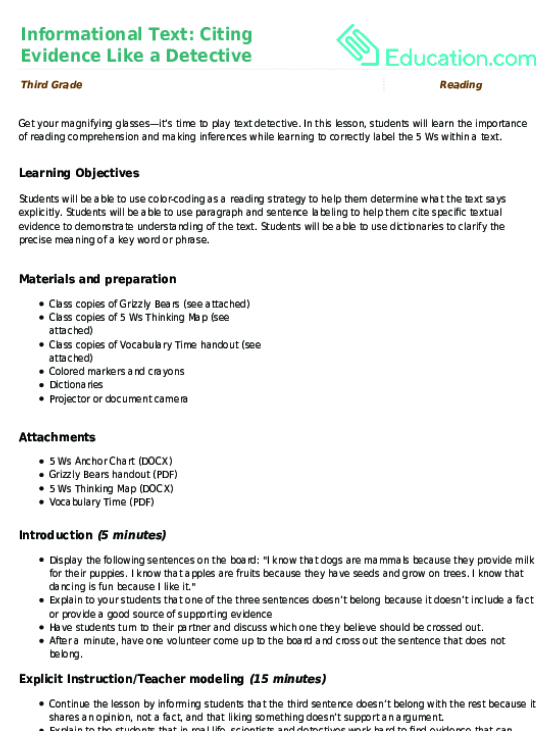 Informational Text Citing Evidence Like a Detective – Text Features Worksheet 3rd Grade