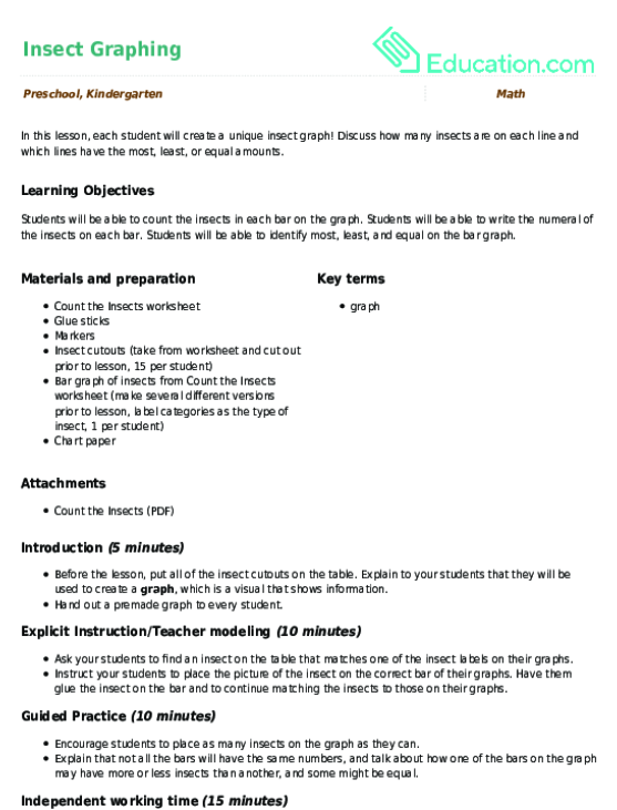 Related Learning Resources Insect Graphing