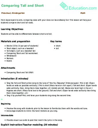 Preschool · Lesson Plan. Comparing Tall And Short