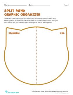 Character Study: Split Mind Graphic Organizer