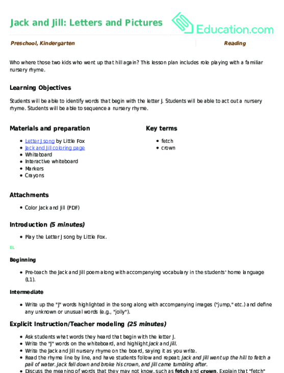 jack and jill letters and pictures lesson plan educationcom
