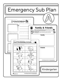 Kindergarten Sub Plan (black and white): Day 1