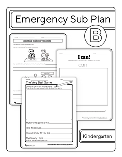 Kindergarten Sub Plan (black and white): Day 2