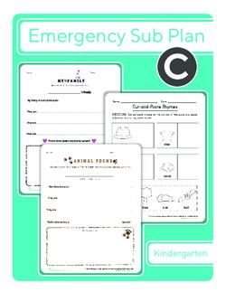 Kindergarten Sub Plan: Day 3