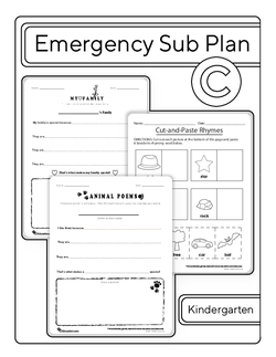 Kindergarten Sub Plan (black and white): Day 3