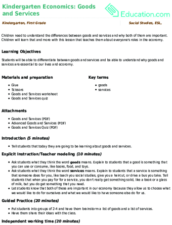 Kindergarten Economics: Goods and Services | Lesson Plan ...