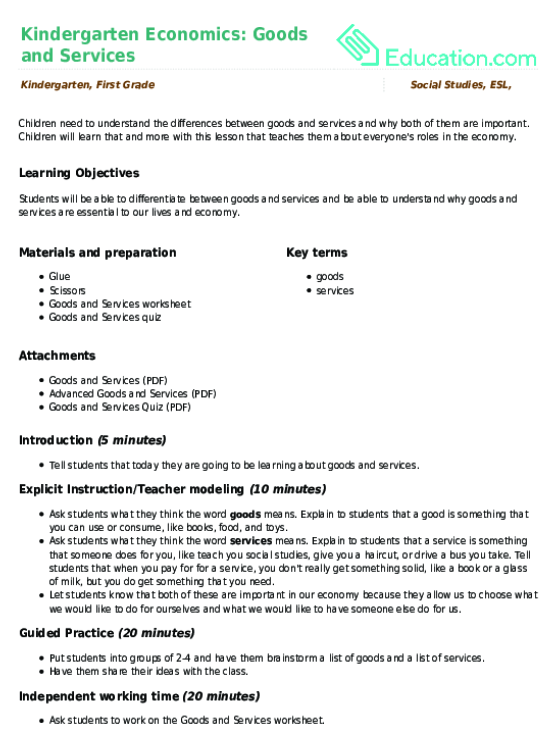 Kindergarten Economics Goods and Services – Economic Worksheets