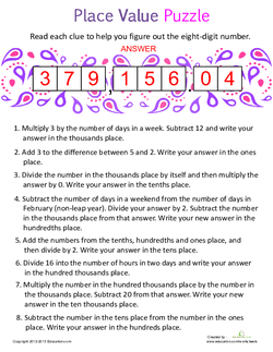 Place Value Puzzle 2 Answers