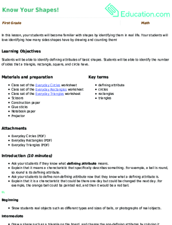 11 1st grade geometry lesson plans education com