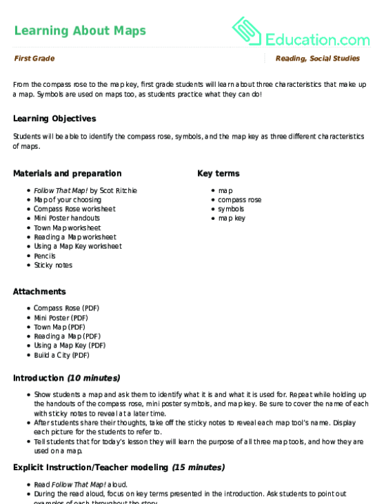 Learning About Maps Lesson Plan Lesson Plan – Reading a Map Worksheet