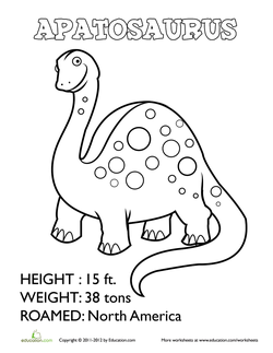 Apatosaurus Coloring Sheet