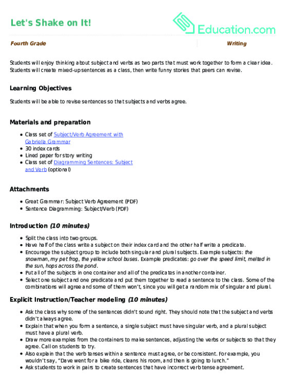 What Is Subject Verb Agreement Lesson Plan Education
