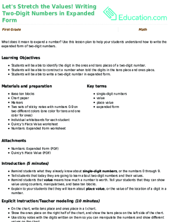 Lesson Plans For First Grade Math Education