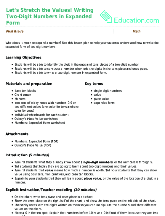 Expanded Form Double Digits Worksheet – Expanded Form Math Worksheets
