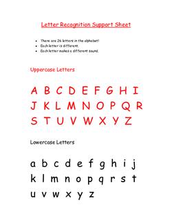 Letter Recognition Support Sheet