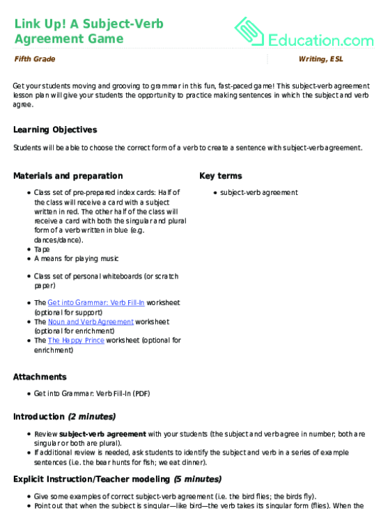 Link Up A Subject Verb Agreement Game Lesson Plan Education