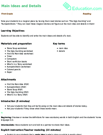 Finding the Main Idea of a Story | Worksheet | Education.com