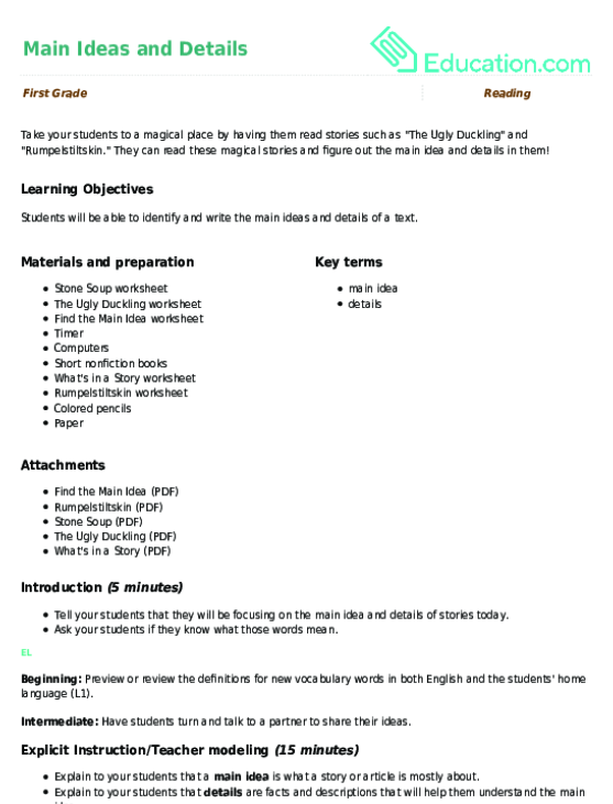 Finding the Main Idea of a Story Worksheet – Main Idea Worksheets 4th Grade