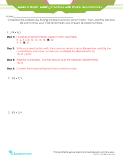 Make It Work! Adding Fractions with Unlike Denominators