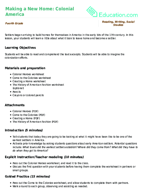 Making a New Home Colonial America Lesson Plan – Colonial America Worksheets