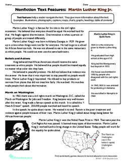 Nonfiction Text Features: Martin Luther King Jr.