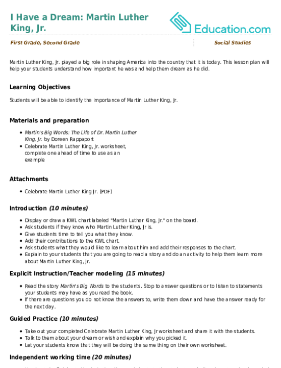 I Have a Dream Martin Luther King Jr Lesson Plan – Martin Luther King Jr Worksheet