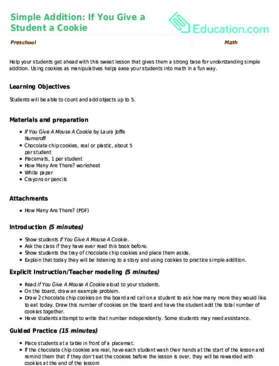 Simple Addition If You Give a Student a Cookie Lesson Plan – If You Give a Mouse a Cookie Worksheets