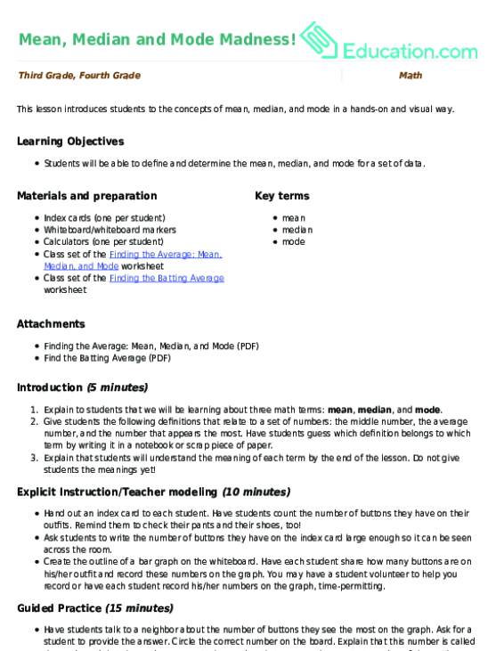 Mean Median And Mode Madness Lesson Plan Education