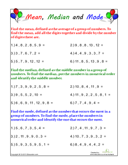 Mean, Median and Mode #2