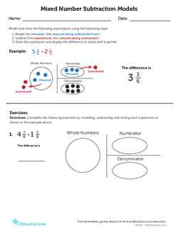 Mixed Number Subtraction Models