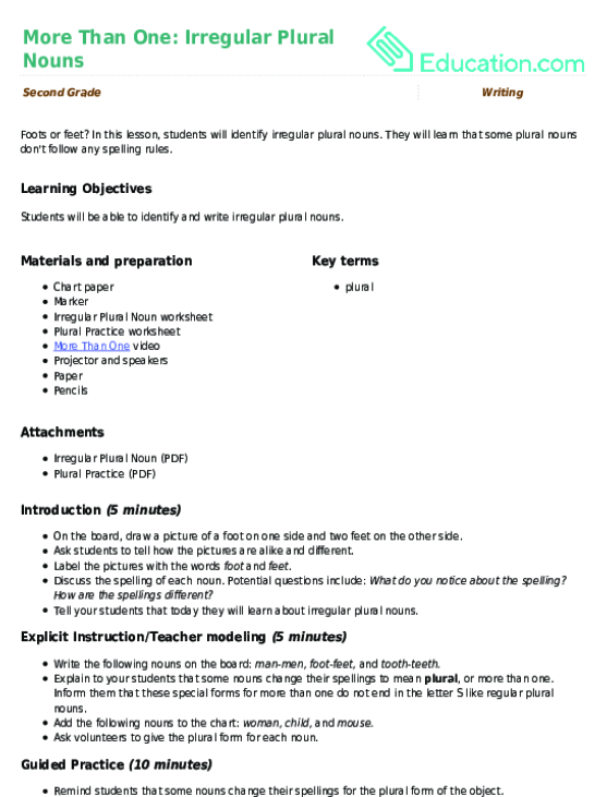 More Than One Irregular Plural Nouns Lesson Plan Education