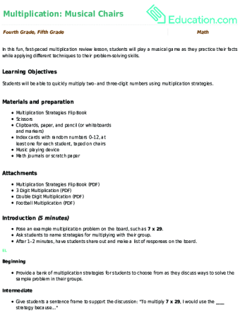 Lesson Plan Multiplication Musical Chairs
